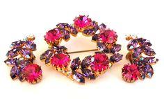 Pink Purple Rhinestone Brooch Earring Parure Set by EmbellishgirlVintage on Etsy https://www.etsy.com/listing/106463303/pink-purple-rhinestone-brooch-earring