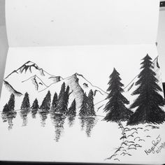 Mountains and pine trees drawing Tree Drawings Pencil, Clay Tiles, Watercolor Trees, The Draw, Tile Art, Pictures To Draw, Creative Cards, Doodle Art, Line Drawing