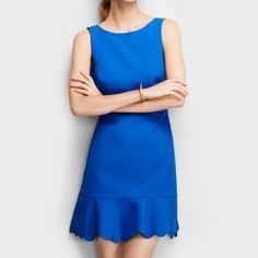 J Crew • Blue Scalloped Hem Shift Dress Gently loved!    •Polyester  •Falls above knee •Back zip •Dry clean  ❌No trades ❌No PayPal ❌No asking for the lowest price J. Crew Dresses Mini