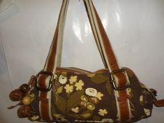 Fossil KeyPer Earth Tone Colored Large Canvas Handbag / Shoulder Bag SALE 5 OFF | eBay