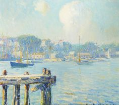 """Untitled view of sailboats in a harbor, George Loftus Noyes, oil on artist board, 13 1/2 X 15"""", private collection."""