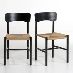 Les 2 chaises Solani. Une assise en corde et des lignes contemporaines pour une chaise très confortable.Caractéristiques : - Dossier incurvé et assise généreuse pour cette chaise au confort contemporain. - Structure en bouleau et multiplis, finition vernis nitrocellulosique. - Assise en corde de papier tressée (un matériau noble utilisé pour les chaises de designers danois). Dimensions : - L46 x H84 x P46,5 cm. - Assise : L46 x H45,5 x P43 cm.    Dimensions et poids du colis :- L60 x H103…