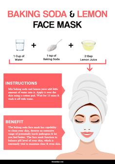 The baking soda face mask has the capability to clean your skin, destroy an extensive range of potentially harsh pathogens and let you feel better. Here we describe some effective homemade baking soda face mask recipes you can try at your home. Baking Soda Lemon Juice, Baking Soda Face, Baking Soda Uses, Lemon Face Mask, Lemon On Face, Lemon Top, Face Scrub Homemade, Homemade Face Masks, Best Diy Face Mask