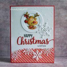 Art Impressions reindeer 4667 – Holly Jolly Set. Handmade Christmas card.
