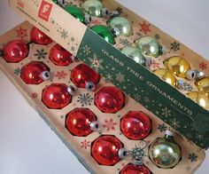 Vintage Glass Christmas Ornaments from the 1950s.