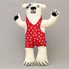 Childrens toy: Haystacks the David Bowie inspired, wrestling polar bear https://www.etsy.com/uk/listing/117865725/childrens-toy-haystacks-the-david-bowie?ref=shop_home_active