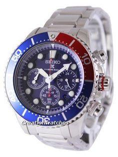 seiko x solar quartz chronograph pepsi bezel Stainless Steel Bracelet, Stainless Steel Case, Rolex Watches, Watches For Men, Seiko Solar, 200m, Casio Watch, Solar Power, Chronograph