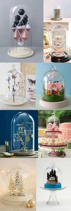 I have a little obsession with cloches at the moment - I especially love the mini cottage scene.