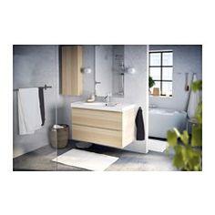 GODMORGON/EDEBOVIKEN Skab til vask med 2 skuffer, egetræsmønster med hvid bejdse eg med hvid bejdse - 100x49x64 cm - IKEA