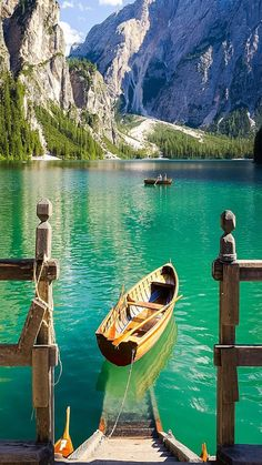 Boat in a mountain lake.