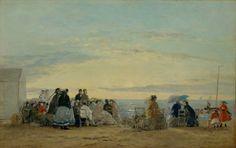 Sur la plage, coucher de soleil   Eugène Boudin  1865