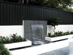 Modern Water Feature, Outdoor Water Features, Backyard Water Feature, Water Features In The Garden, Wall Water Features, Modern Garden Design, Backyard Garden Design, Small Backyard Landscaping, Modern Landscaping