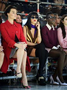 Rihanna & Lupita looking stylish in the front row at Miu Miu!