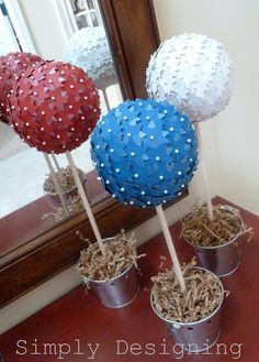 Star Topiaries for 4th of July #craft