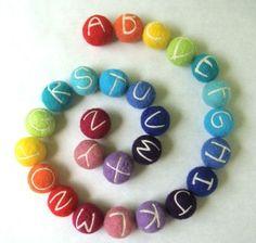 Love these little alphabet rainbow felt balls! by jacksbeanstalk on Etsy! Felt Crafts, Diy Crafts, Idee Diy, Felt Ball, Over The Rainbow, Rainbow Baby, Felt Toys, Letters And Numbers, Kids Decor