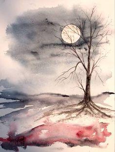 Gerelateerde afbeelding Watercolor Landscape Paintings, Watercolor Trees, Easy Watercolor, Watercolor Water, Landscape Drawings, Watercolor Artists, Watercolor Artwork, Watercolor Portraits, Art Paintings