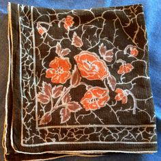 Vintage Hankercheif or Hanky made of Cotton, Poppies, Leaves in browns and oranges (P6) by AntiqueCarla on Etsy $4.50