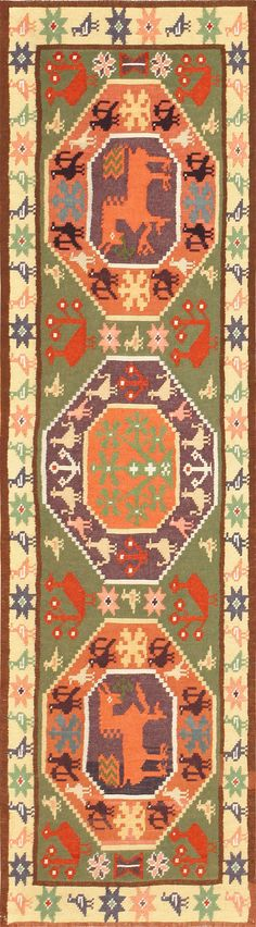 Green Background Vintage Swedish Scandinavian Runner Rug 48899 Detail/Large View