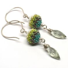 Mini Blueberry Beaded Bead Earrings with Green by gwenbeads, $89.00