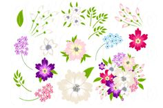 Hand Drawn Flowers, card template by Ivan Negin on Creative Market