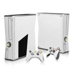 Sticker Decal For Xbox 360 Slim Console + 2 Controller Skins White Carbon Fiber in Video Games & Consoles, Video Game Accessories, Faceplates, Decals & Stickers