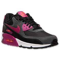 Women's Nike Air Max 90 Essential Running Shoes  FinishLine.com   Black/Bright Magenta/Turf Orange