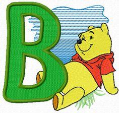 Winnie Pooh free alphabet letter B machine embroidery design. Machine embroidery design. www.embroideres.com