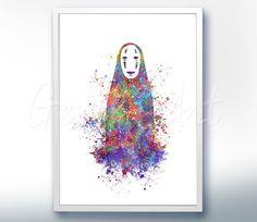 Spirited Away afdrukken, geen gezicht Studio Ghibli aquarel Poster Print - aquarel schilderij, aquarel kunst, Kids Decor, het Decor van de kwekerij