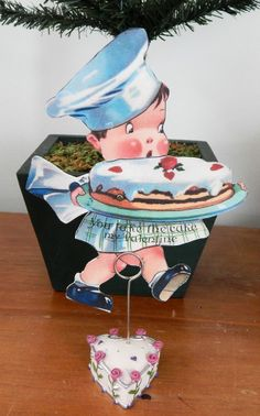 Charles Twelvetrees Valentine: MECHANICAL VALENTINE CARD--BAKER CARRYING CAKE--YOU TAKE THE CAKE MY VALENTINE
