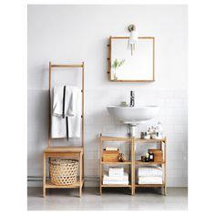 Small bathroom ideas - space-saving bathroom furniture and many clever solutions - Ikea DIY Bathroom Furniture, Ikea Home, Small Bathroom Storage, Small Bathroom Decor, Small Bathroom Furniture, Pedestal Sink Storage, Sink Shelf, Ikea Bathroom Accessories, Bathroom Inspiration