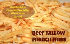 Did you know French fries can actually be good for you? If cooked in the right kind of fat, French fries are nourishing, healthy and full of vitamins. Learn more about the good and the bad fats for Fries and get my Beef Tallow recipe: www. Liver Recipes, Kidney Recipes, Veggie Recipes, Whole Food Recipes, Vegetarian Recipes, Healthy Appetizers, Healthy Snacks, Healthy Fries, Tallow Recipe