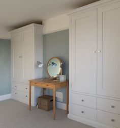 Classic shaker style wardrobes with drawers, built in to alcoves in a semi. Built In Wardrobe Ideas Alcove, Bedroom Built In Wardrobe, Fitted Bedroom Furniture, Fitted Bedrooms, Wardrobe Drawers, Wardrobe Doors, White Furniture, Kitchen Furniture, Alcove Ideas