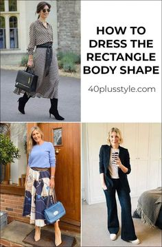 You will look your best if you pick clothes that are suitable for your body shape. In this article are guidelines on how to dress the rectangle body shape. Casual Outfits, Fashion Outfits, Dressing Your Body Type, Dress Body Type, Flattering Outfits, Smart Casual Outfit, Dress Shapes, Body Shapes