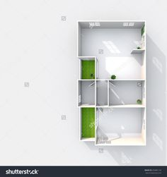 3d interior rendering plan view of empty paper model home apartment