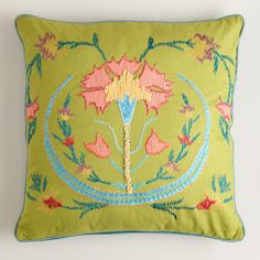 Green Flower Suzani Embroidered Throw Pillow | World Market // @Priscilla Medders, this reminds me of you!
