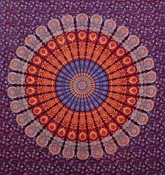 Bohemian Tapestry, Mandala Tapestry, Hippie Bohemian, Hanging Beds, Tapestry Wall Hanging, Mandala Throw, Psychedelic Tapestry, Purple Peacock, Gold Bed