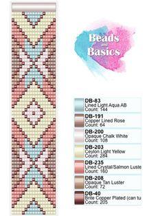 pastel miyuki delica beadloom pattern - patronen voor weefarmbandjes