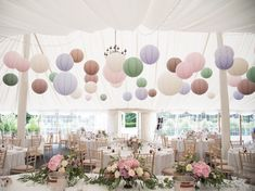 We hung summertime pastel Paper Lanterns including Sage, Pale Pink, Latte, Ivory & Lavender which looked spectacular with the wedding flowers we created at this beautiful Wedding at Middleton Lodge, North Yorkshire Wedding Flowers Wedding Lanterns, Marquee Wedding, Wedding Decorations, Wedding Paper Lanterns, Wedding Ideas, Hanging Paper Lanterns, Decorating With Paper Lanterns, Paper Lantern Decorations, Middleton Lodge