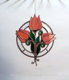 Pendant Orange tulips. Flowers Floral Stained Glass. by DizArtEx
