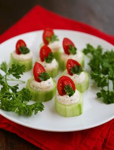 Cucumber Tomato Bites with Creamy Parmesan Herb Spread