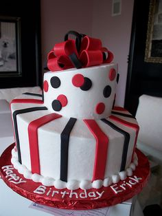 Black and Red Simple Topsy Turvy Man's Birthday Cake