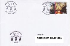 Carimbo comemorativo 500 Anos da Santa Casa da Misericórdia de Braga obliterando selo alusivo à Catedral de Braga