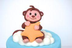 Fondant baby monkey cake topper by HappyCaker on Etsy, $30.00
