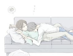 Heichou, I need to get up. No, tired. I'm not! Yes you are. Your the one whose tired, Heichou. So? So, I'm hungry. Eat later, sleep now. No. Yes. I refuse. You can't. Heichou! Fine... Them cuddling like this is so sweet!