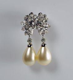 Vintage Christian Dior Germany Faux Tear Drop Dangle Pearl Rhinestone Clip On Silver Tone Earrings #ChristianDiior #Dior #Earrings #TearDrop #Pearl #Dangle