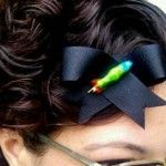 Severed Zombie Witch Black Bow Hair Clip handmade by Jennie Rage of Rotten Cherry Retro for Rockin' Ramzi's Rockabilly and Pin Up Emporium