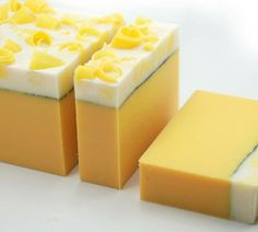 Sweet lemon cream soap. Looks good enough to eat.... this will smell divine.