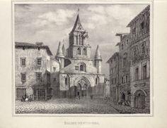 """L'Eglise de Saint-Junien, extrait de l'""""Historique monumental de l'ancienne province du Limousin"""",  de Jean-Baptiste Tripon, 1837. Bfm Limoges. http://www.bn-limousin.fr/items/show/356"""