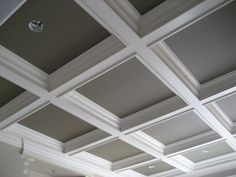 Design ideas, tips, and techniques for a unique coffered #ceiling in kitchens, living rooms, basements and more