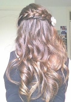 brunette with flower and braid!
